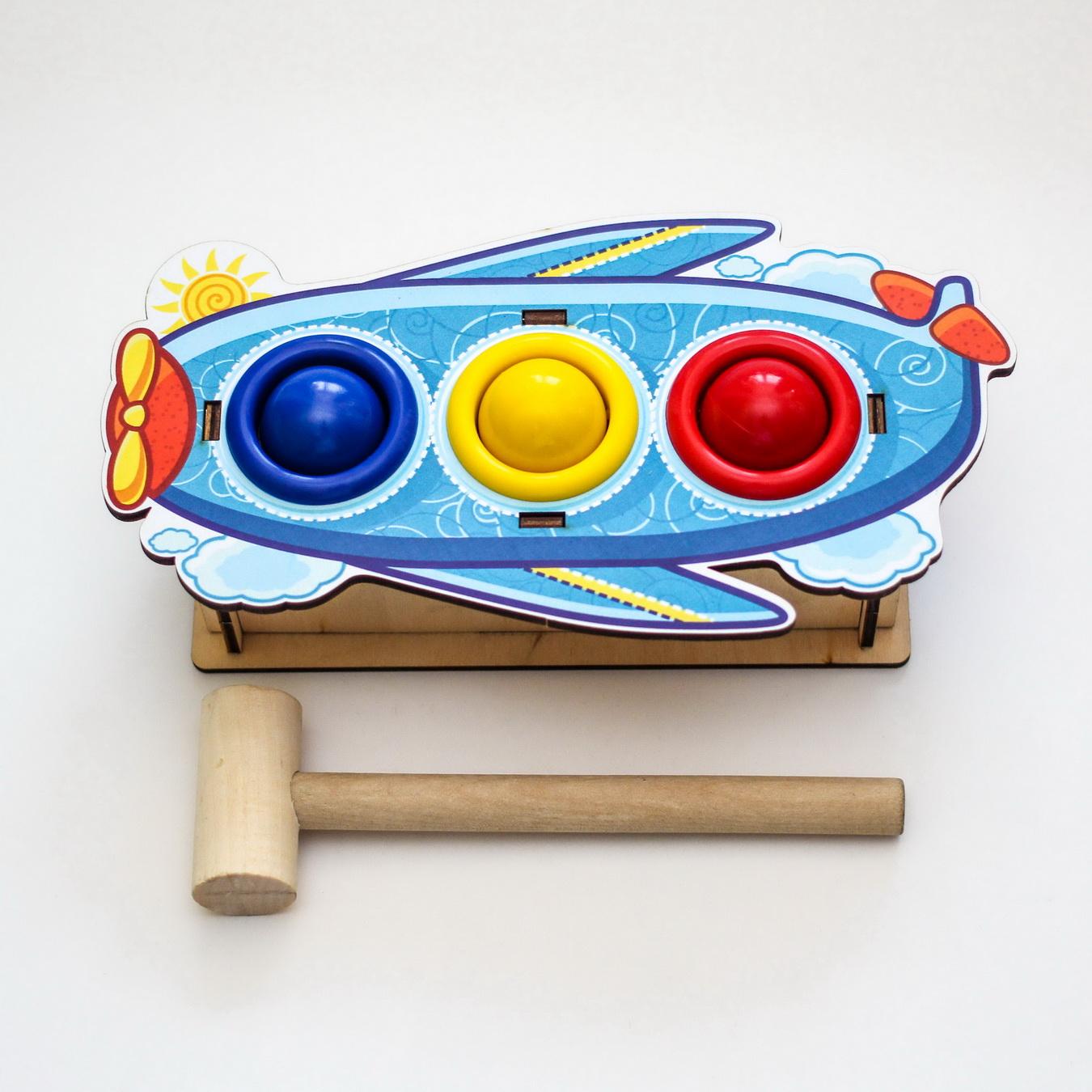 Ինտելեկտուալ փայտե խաղալիք՝ բախում գունավոր, ինքնաթիռ, 3 անցք