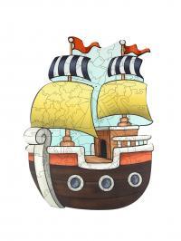 Փայտե սուպեր փազլ՝ նավ