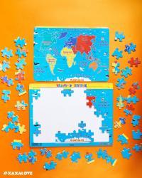 Փայտե փազլ աշխարհի քարտեզ